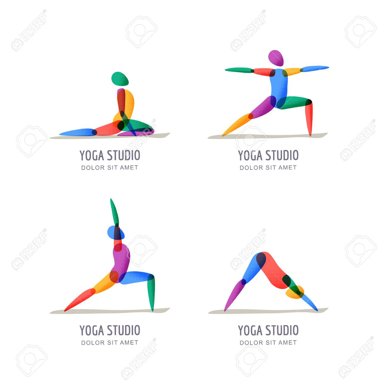 Vector Yoga Studio Logo Emblem Design Template Colorful Female