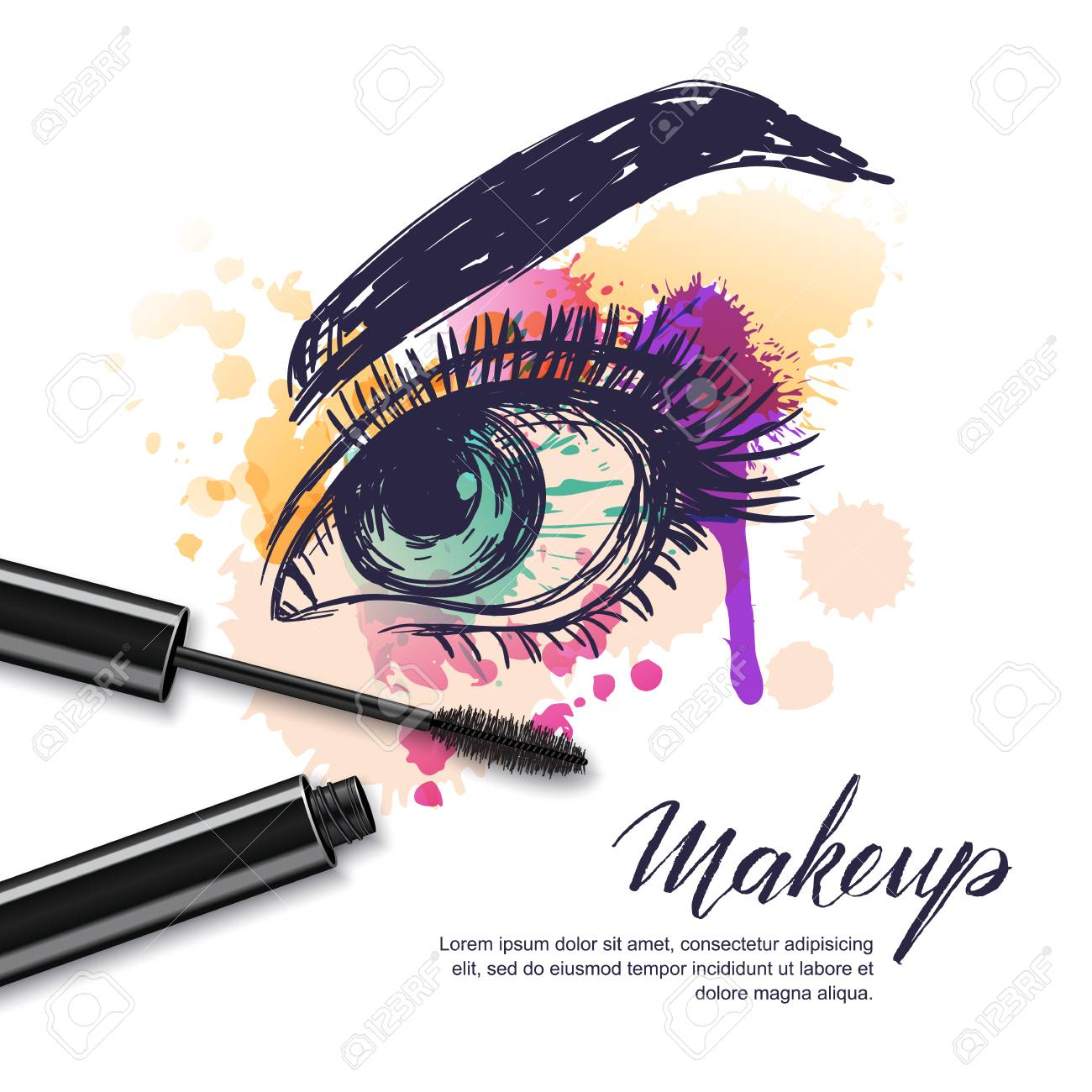 Vector Watercolor Sketch Illustration Of Colorful Female Eye