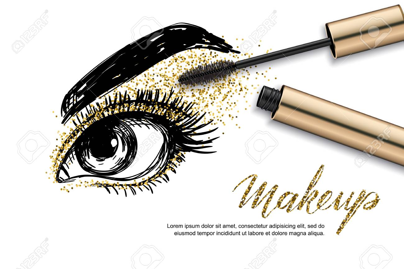 Vector Sketch Illustration Of Female Eye And Makeup Mascara