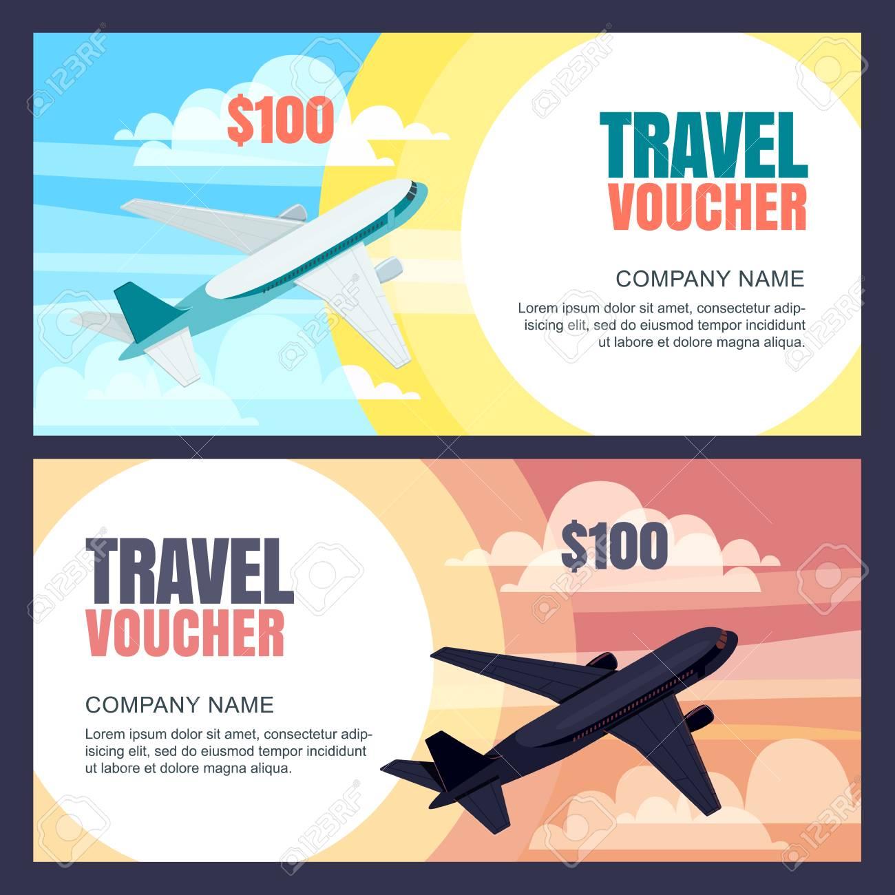 Vector Travel Voucher Template 3d Isometric Illustration Of