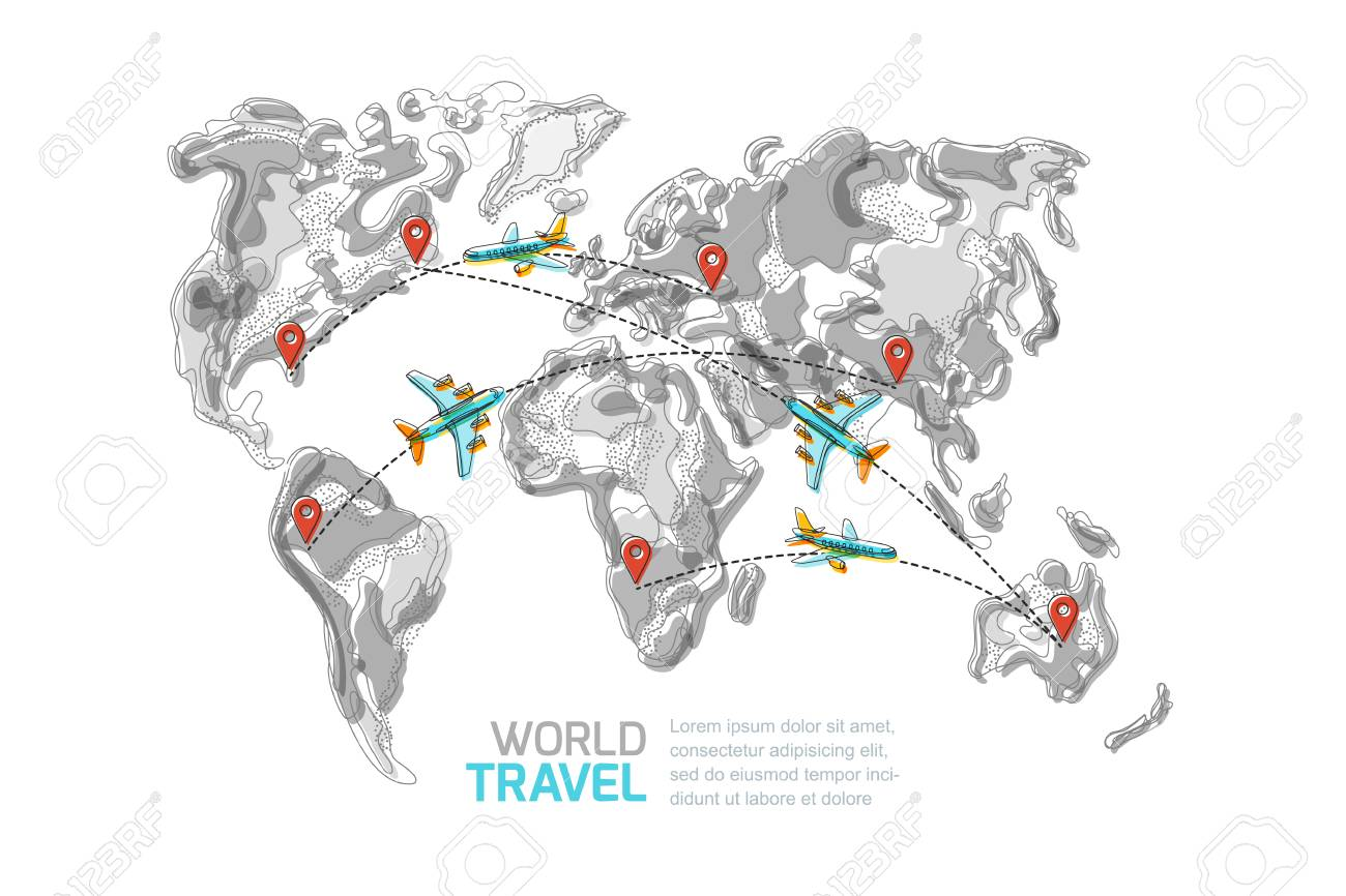 Vector abstract grayscale world map with red pins and blue flying vector vector abstract grayscale world map with red pins and blue flying airplanes top view illustration isolated on white background gumiabroncs Image collections
