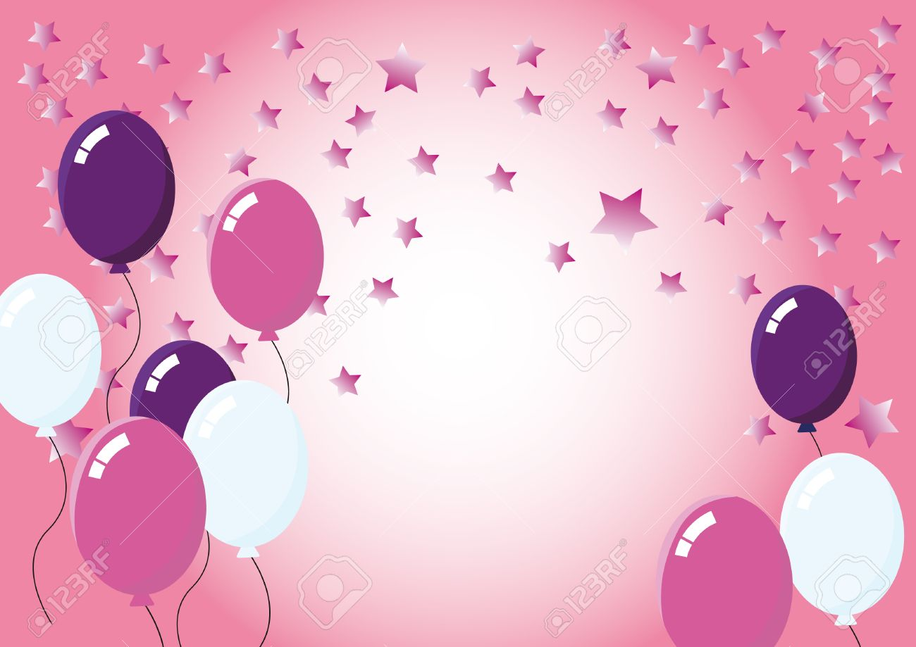 Color Party Balloons Pink For Sweet Background With Stars