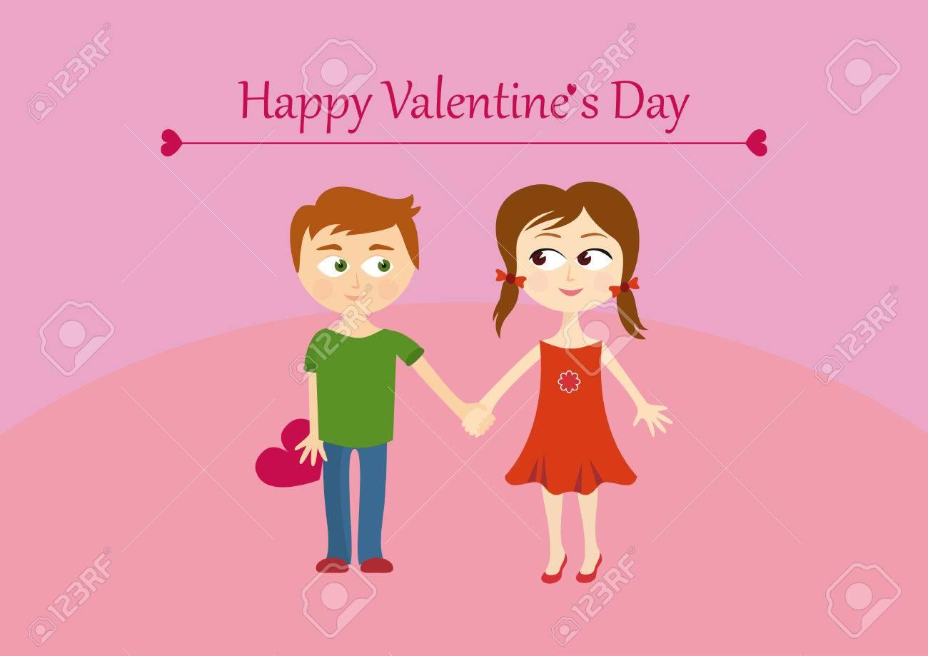 San Valentín Lindo Pareja, Chico Y Chica. Feliz Tarjeta De ...