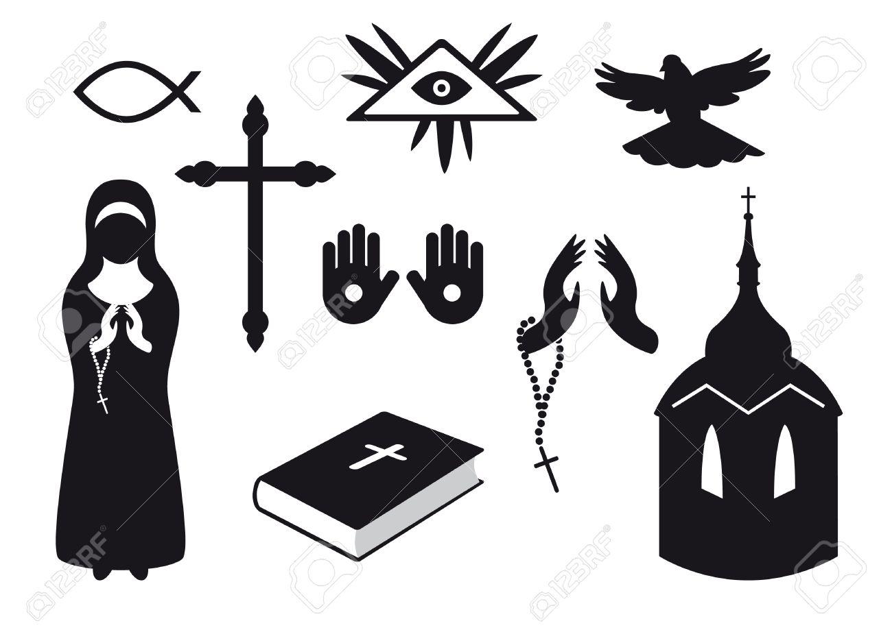 Black And White Christian Icons Set Of Christian Symbols