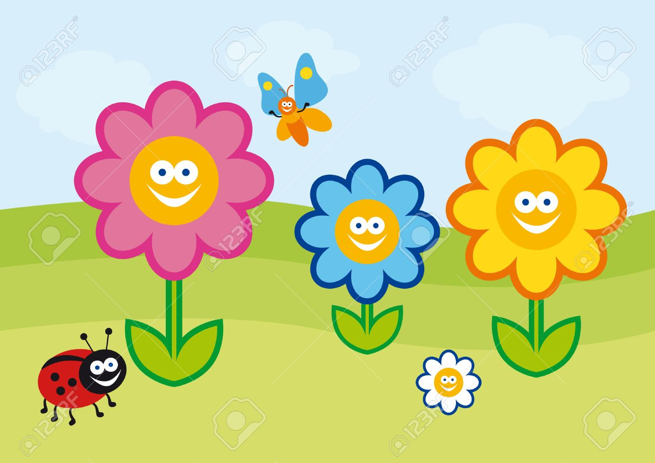 Funny spring illustration  colorful flowers  Crazy colorful cartoon
