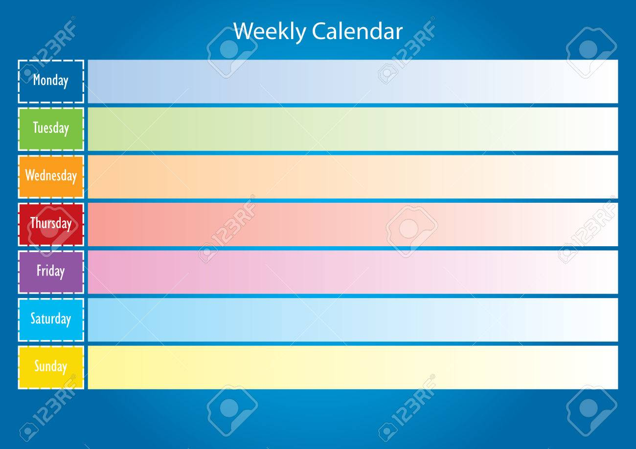 Calendario Semanal.Calendario Semanal La Planificacion Del Calendario Colorido Calendario Para Una Semana