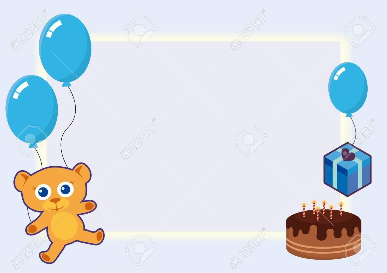 Tarjeta De Cumpleaños Azul Tarjeta De Cumpleaños Para El Bebé Invitaciones Azules Del Partido Ilustración Del Vector Del Cumpleaños Tarjeta