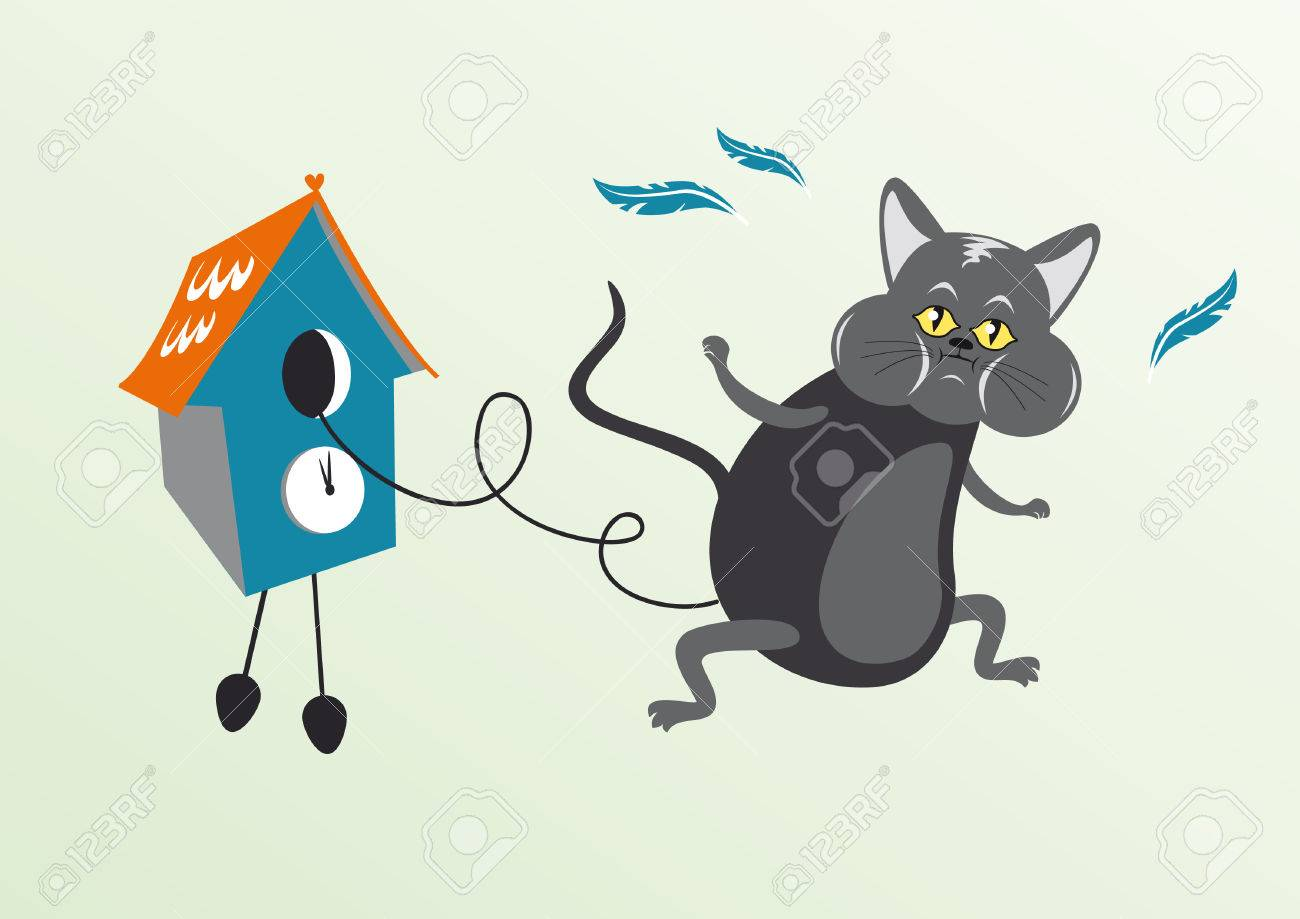 Topic des chats - Page 7 55806355-cat-in-cuckoo-clock-funny-vector-illustration-of-cat-in-cuckoo-clock-cartoon-character-cat-cat-with-