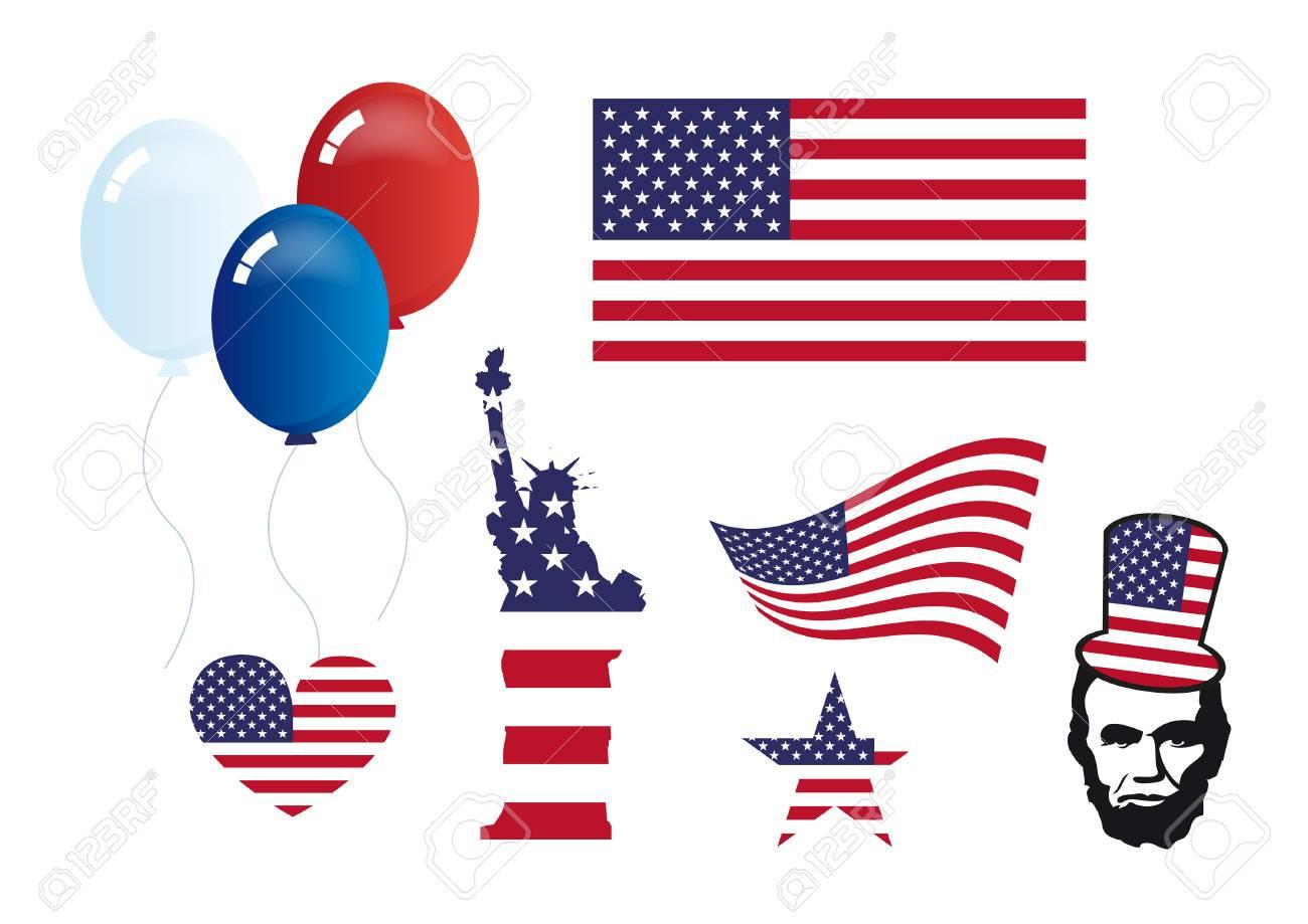 American Symbols Set Vector Set Of Icons Symbol Of America Royalty