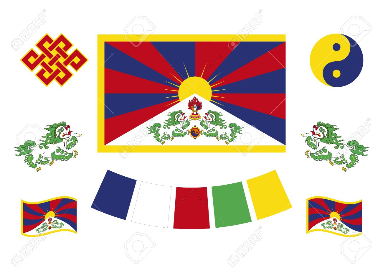 Tibetan flag and symbols tibetan set of icons symbol of buddhism tibetan flag and symbols tibetan set of icons symbol of buddhism vector illustration buycottarizona