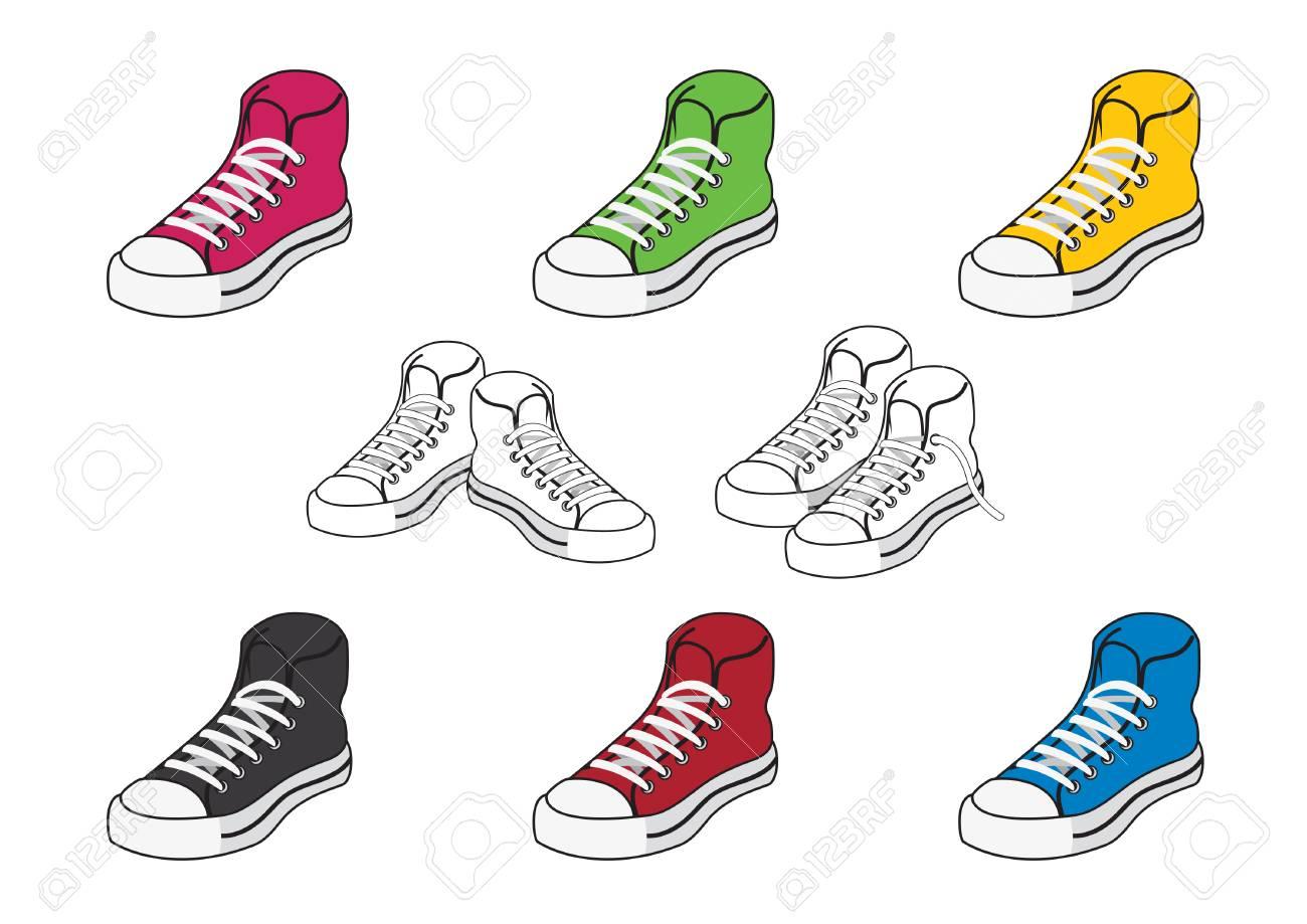 Conjunto Juventud ColorIlustración DeporteLa De Iconos Zapatillas Diferentes Zapatos Los Vectorial sdChxtQr