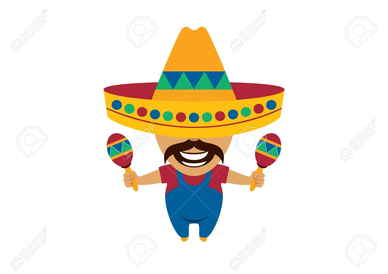 Foto de archivo - Personaje de dibujos animados hombre mexicano. Vector  mexicano. Músico mexicano ilustración vectorial ddd8070ed45