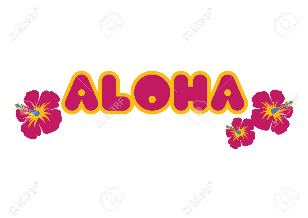 Aloha lettering with flower vector hawaiian greeting aloha aloha lettering with flower vector hawaiian greeting aloha holiday illustration on a white background m4hsunfo