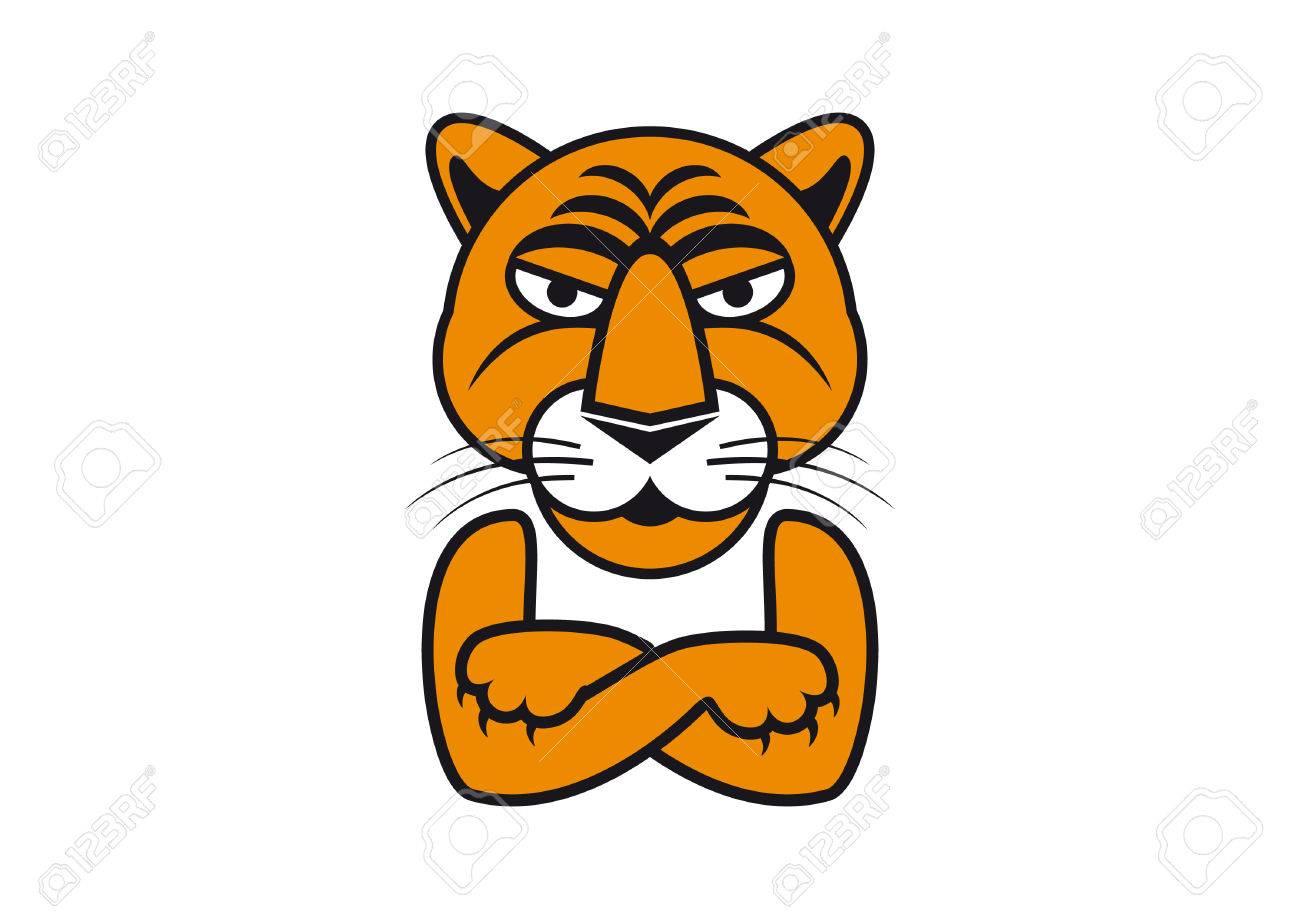 Ilustración De Vector De Tigre Imágenes De Dibujos Animados De Tigre Tigre Con Los Brazos Cruzados Cabeza De Tigre