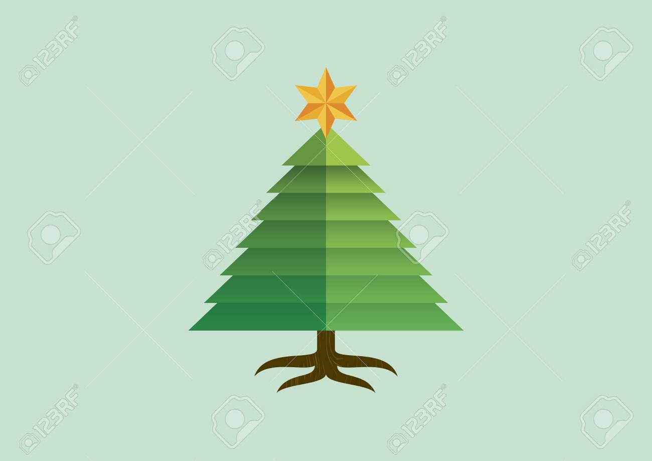 Graphic Christmas Tree With Star Vector Simple Christmas Tree