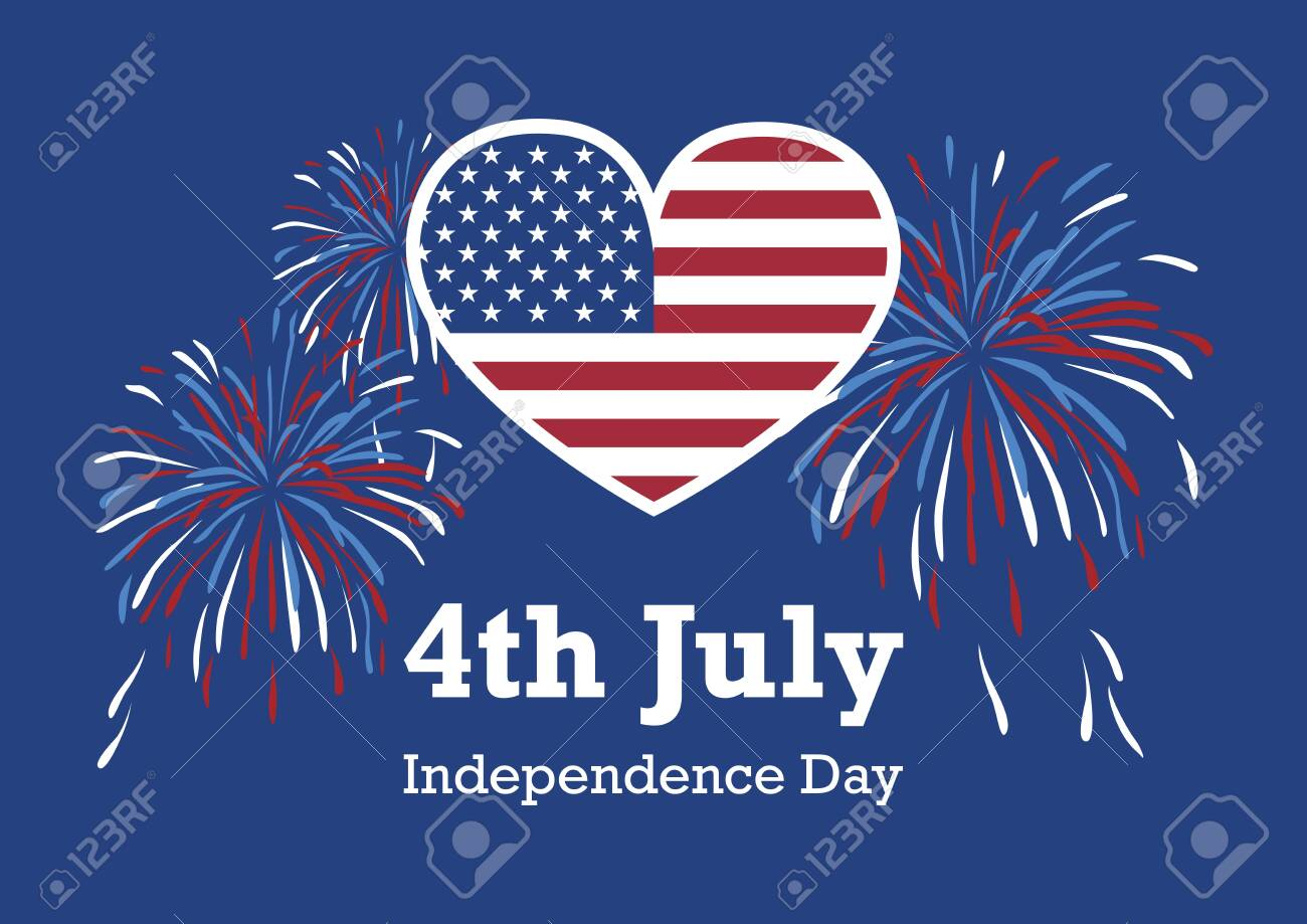 USA Independence Day American flag heart vector. Vector Illustration Keywords: America Independence Day. American flag heart with fireworks. United States Independence Day Poster. Important day - 125659175