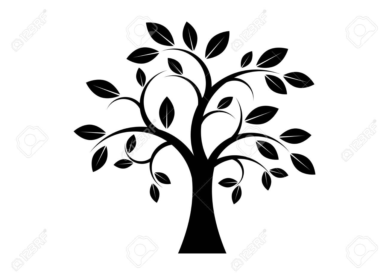 Decor Tree black silhouette clip art. Tree isolated on white background. Tree silhouette vector. Deciduous Tree Vector. Simple Tree icon vector - 126380025