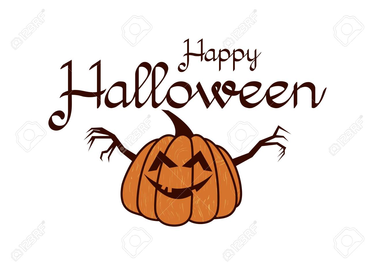 Halloween Greeting Card Happy Halloween With Pumpkin Halloween Royalty Free Cliparts Vectors And Stock Illustration Image 129800842