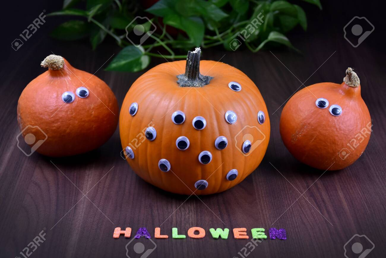 Halloween Pumpkin Three Halloween Pumpkins With Eyes Funny Stock Photo Picture And Royalty Free Image Image 131190610