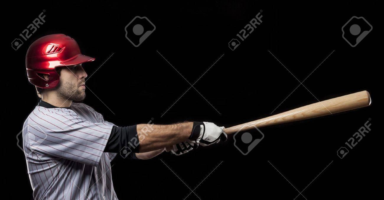 Baseball Player on a black background. Studio Shot. - 19900005