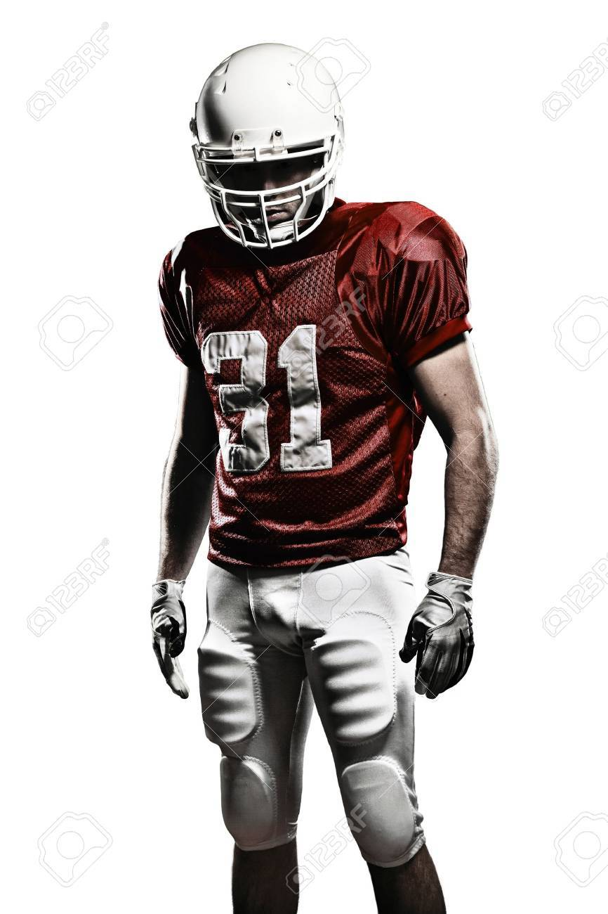 Football Player with a red uniform on a white background. - 21386310