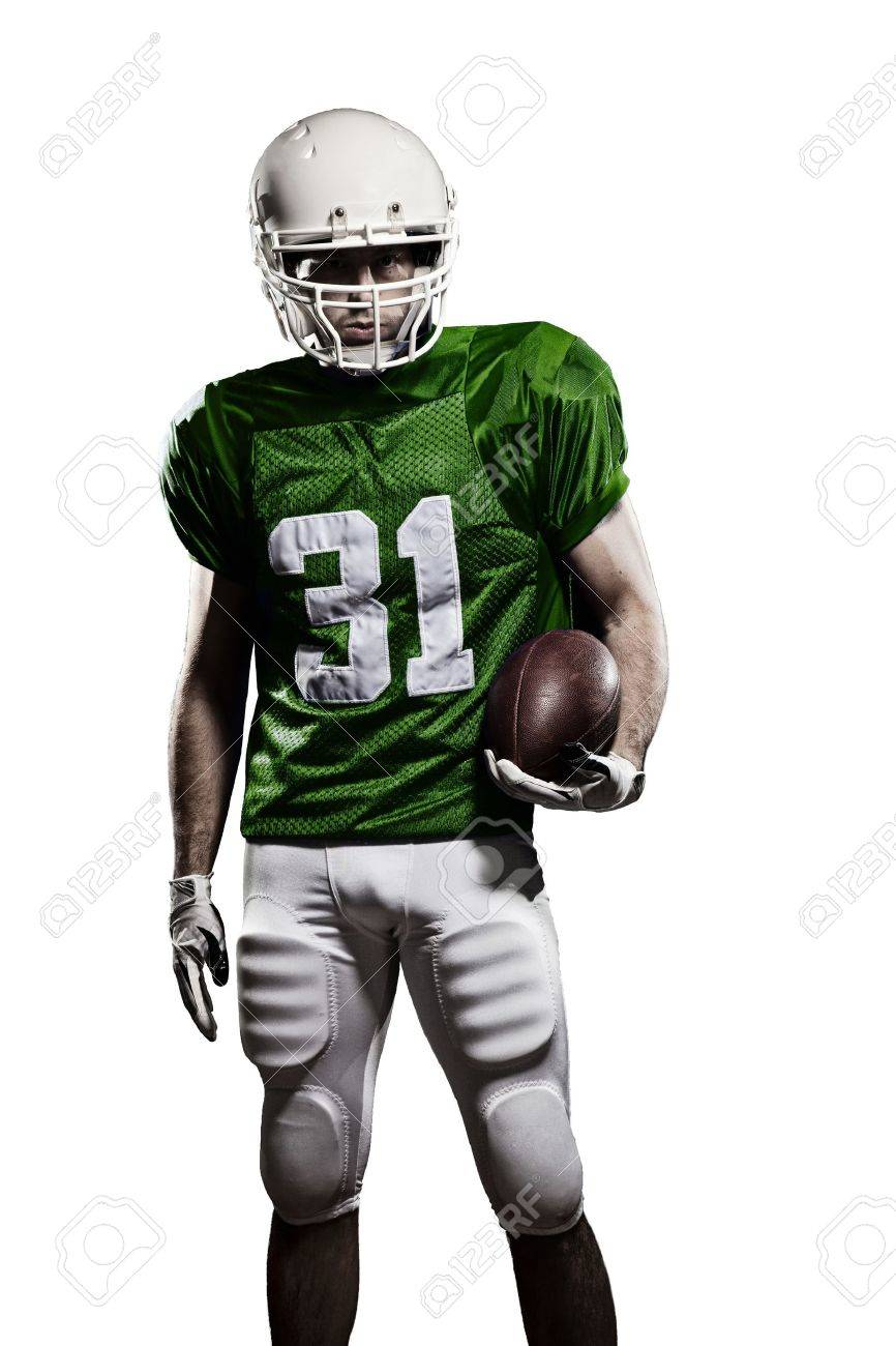 Football Player with a green uniform and a ball in the hand on a white background. - 21386313
