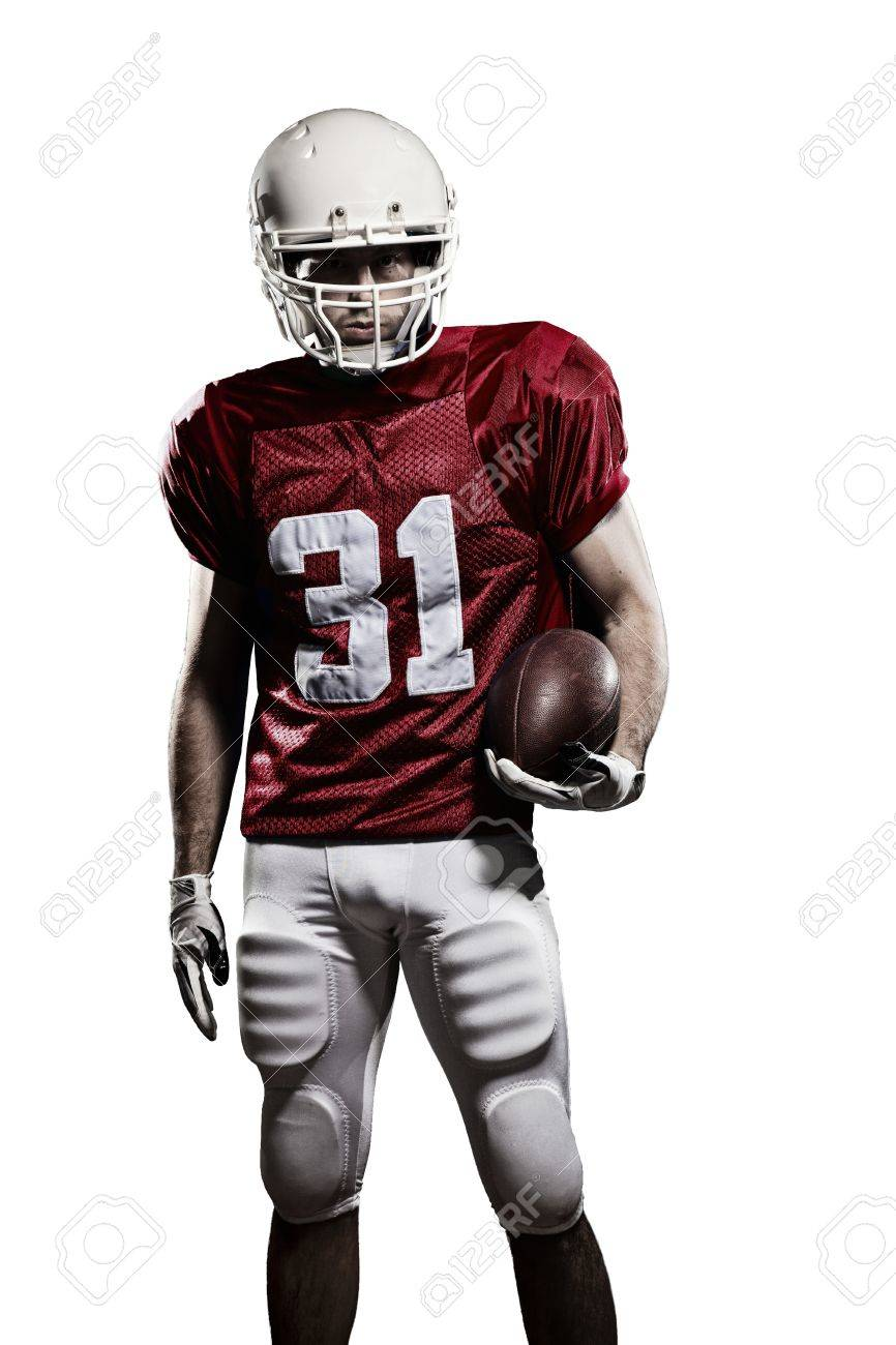 Football Player with a red uniform and a ball in the hand on a white background. - 21386316