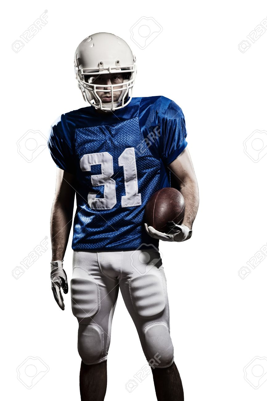Football Player with a blue uniform and a ball in the hand on a white background. - 21386320