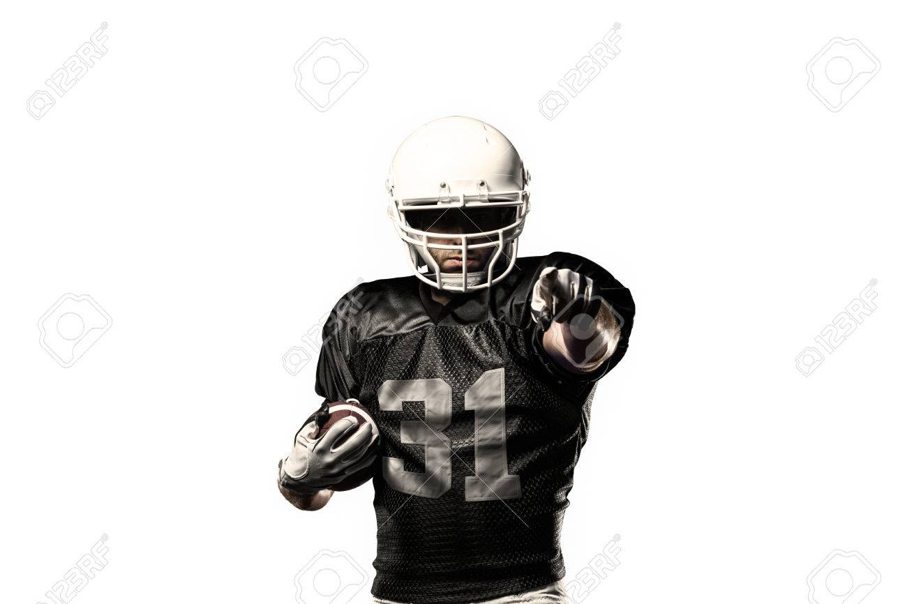 Football Player with a black uniform, on a white background - 24750208