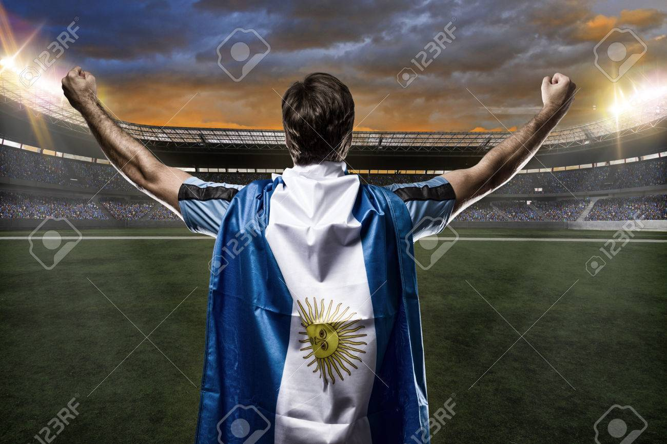 Argentinian soccer player, celebrating with the fans. - 26331317