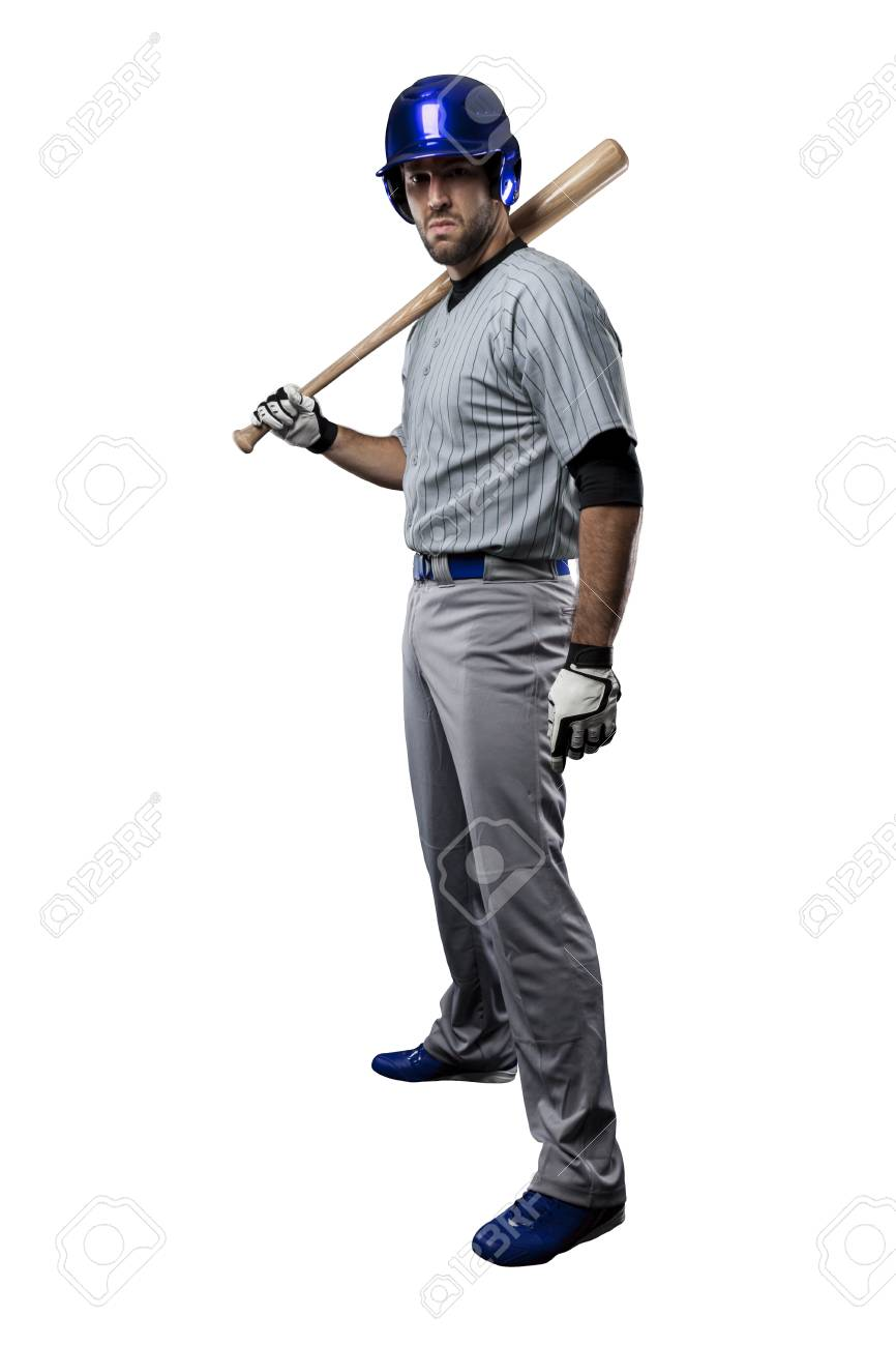 Baseball Player in a blue uniform, on a white background. - 27527275