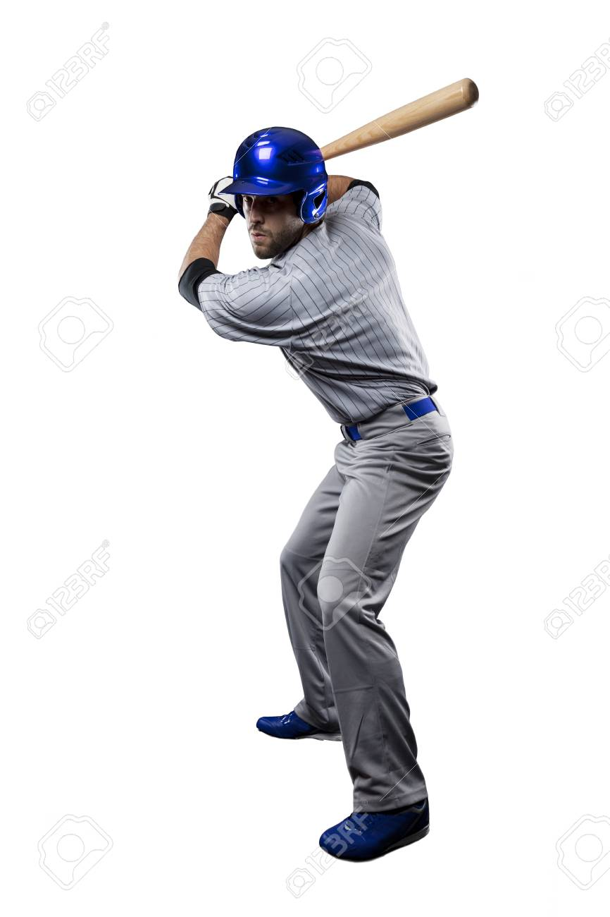 Baseball Player in a blue uniform, on a white background. - 27528688