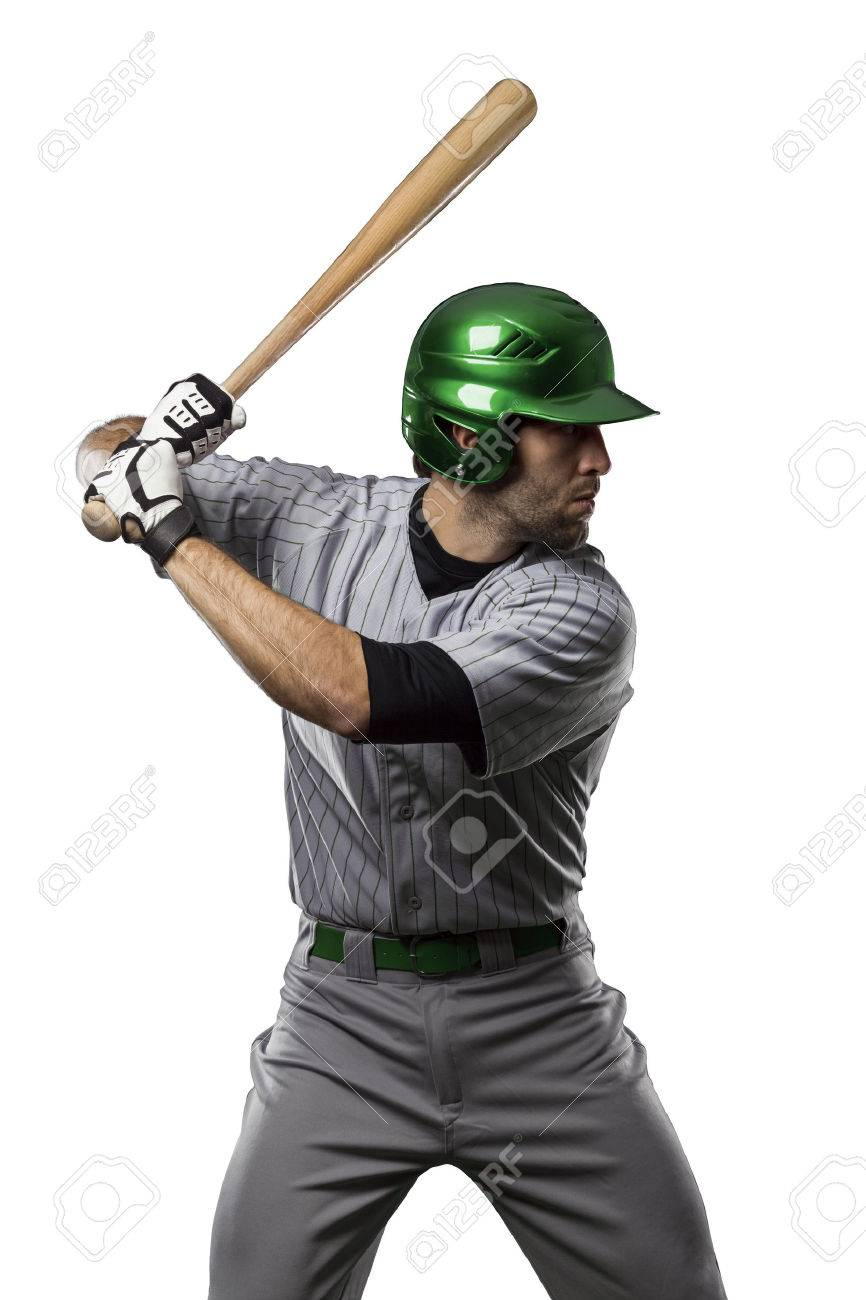 Baseball Player in a Green uniform, on a white background. - 27528779