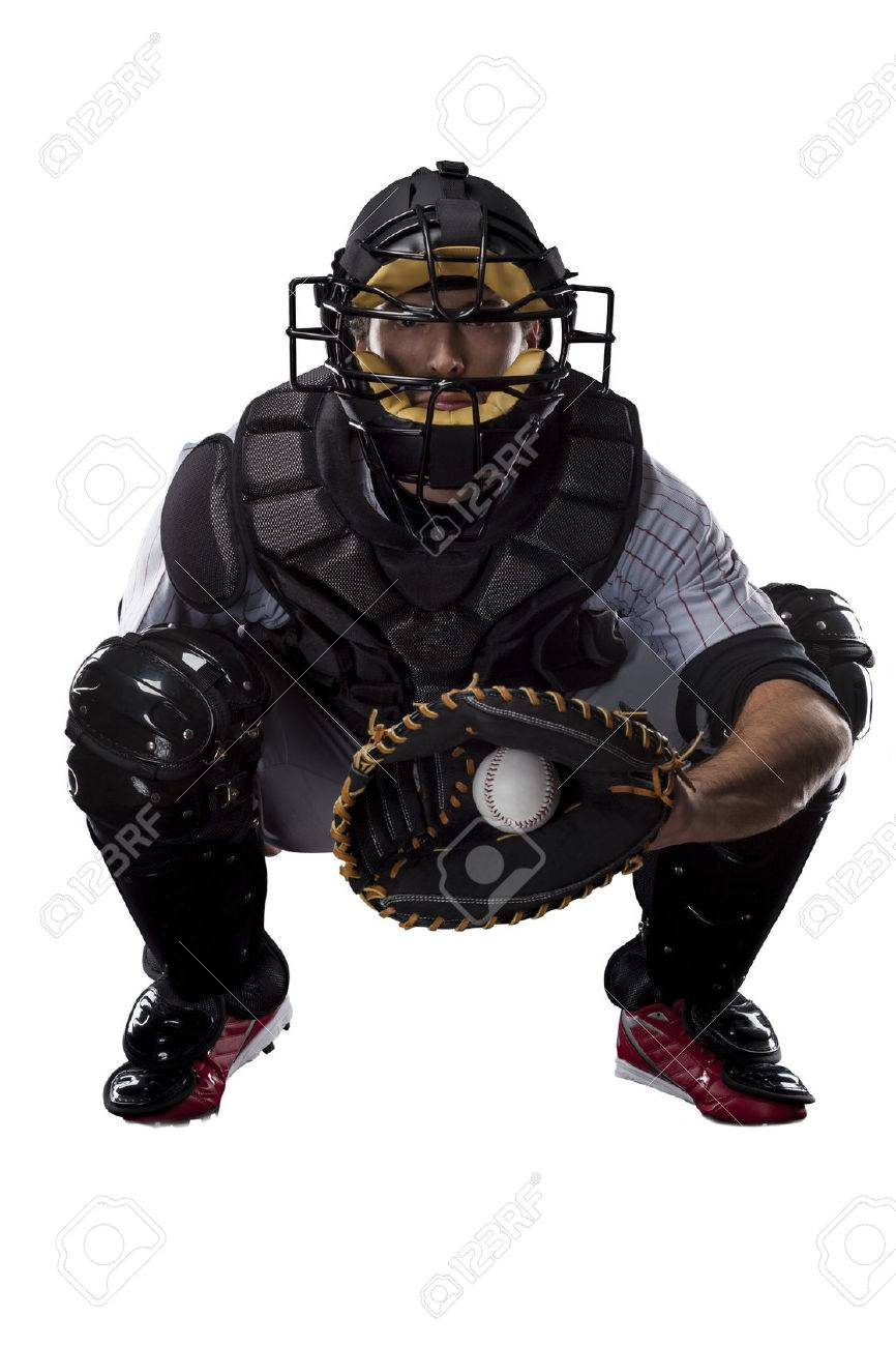 Catcher Baseball Player, on a white background. - 27529084