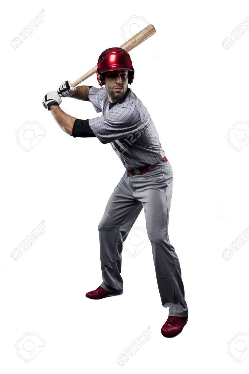 Baseball Player in red uniform, on a white background. - 27529100
