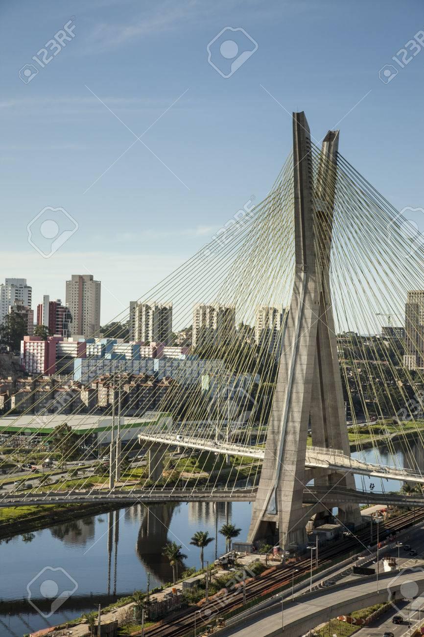 Sunset over Octavio Frias Oliveira Bridge - Sao Paulo - Brazil - 33864783