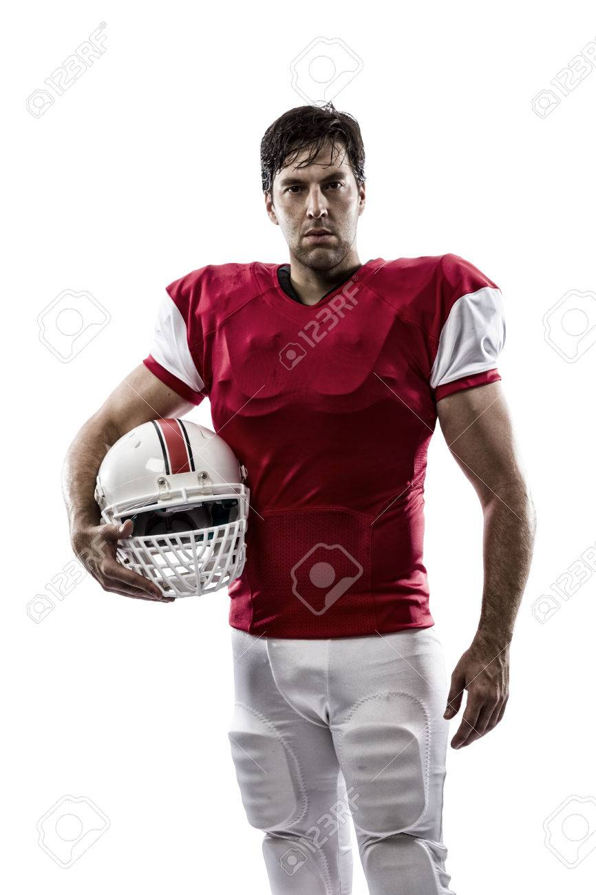 Football Player with a red uniform on a white background. - 35218434