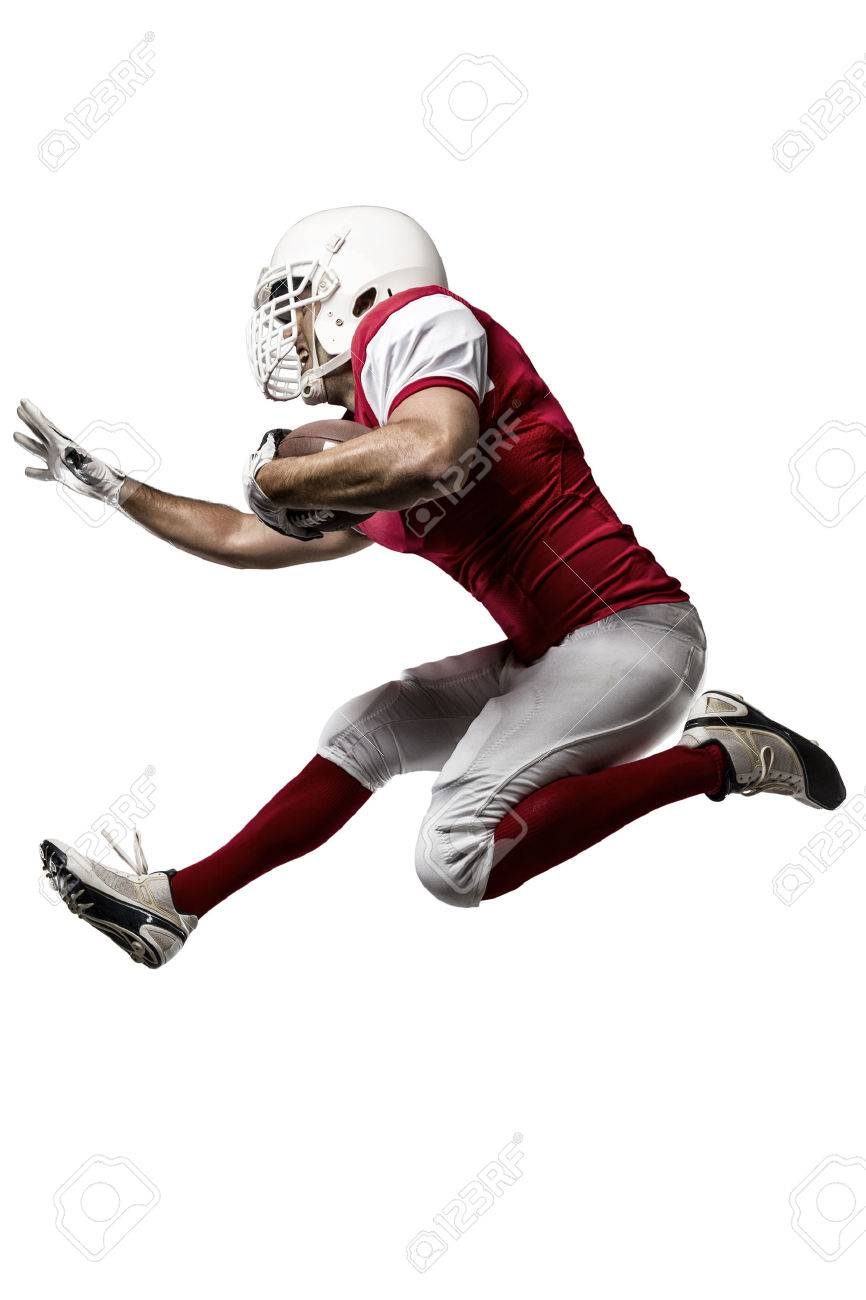 Football Player with a red uniform Running on a white background. - 35218768