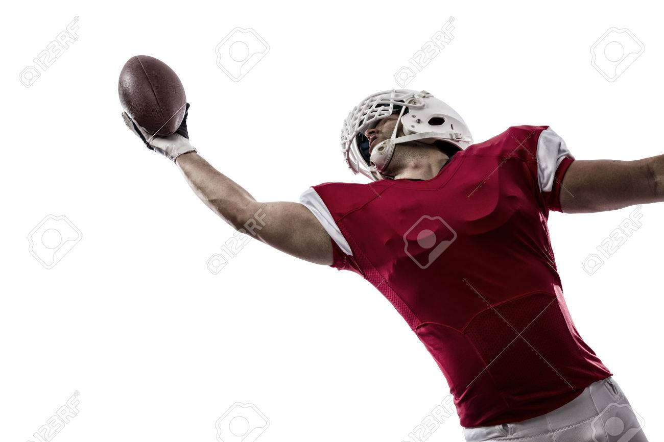 Football Player with a red uniform making a catching on a white background. - 35219415