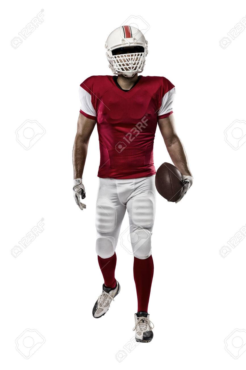 Football Player with a red uniform on a white background. - 35219510