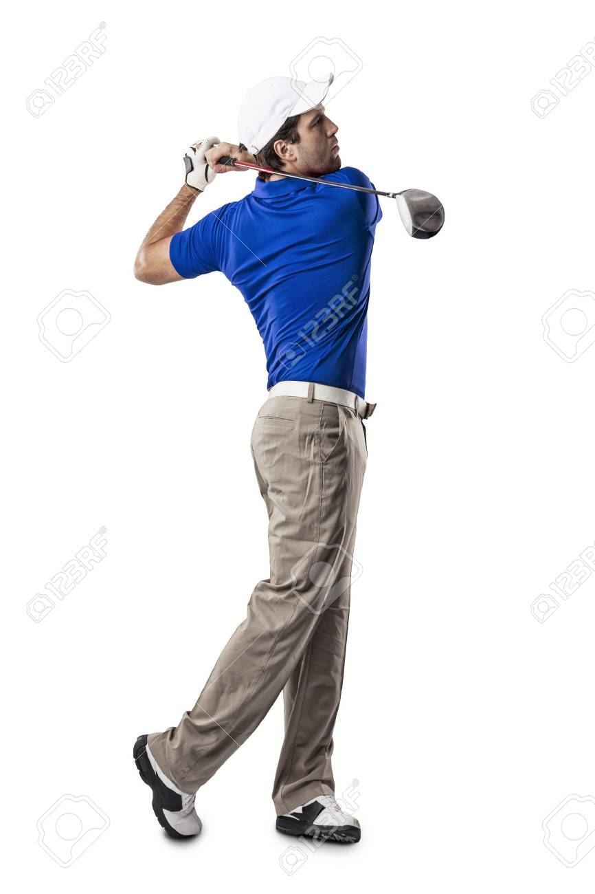 Golf Player in a blue shirt taking a swing, on a white Background. - 53260231