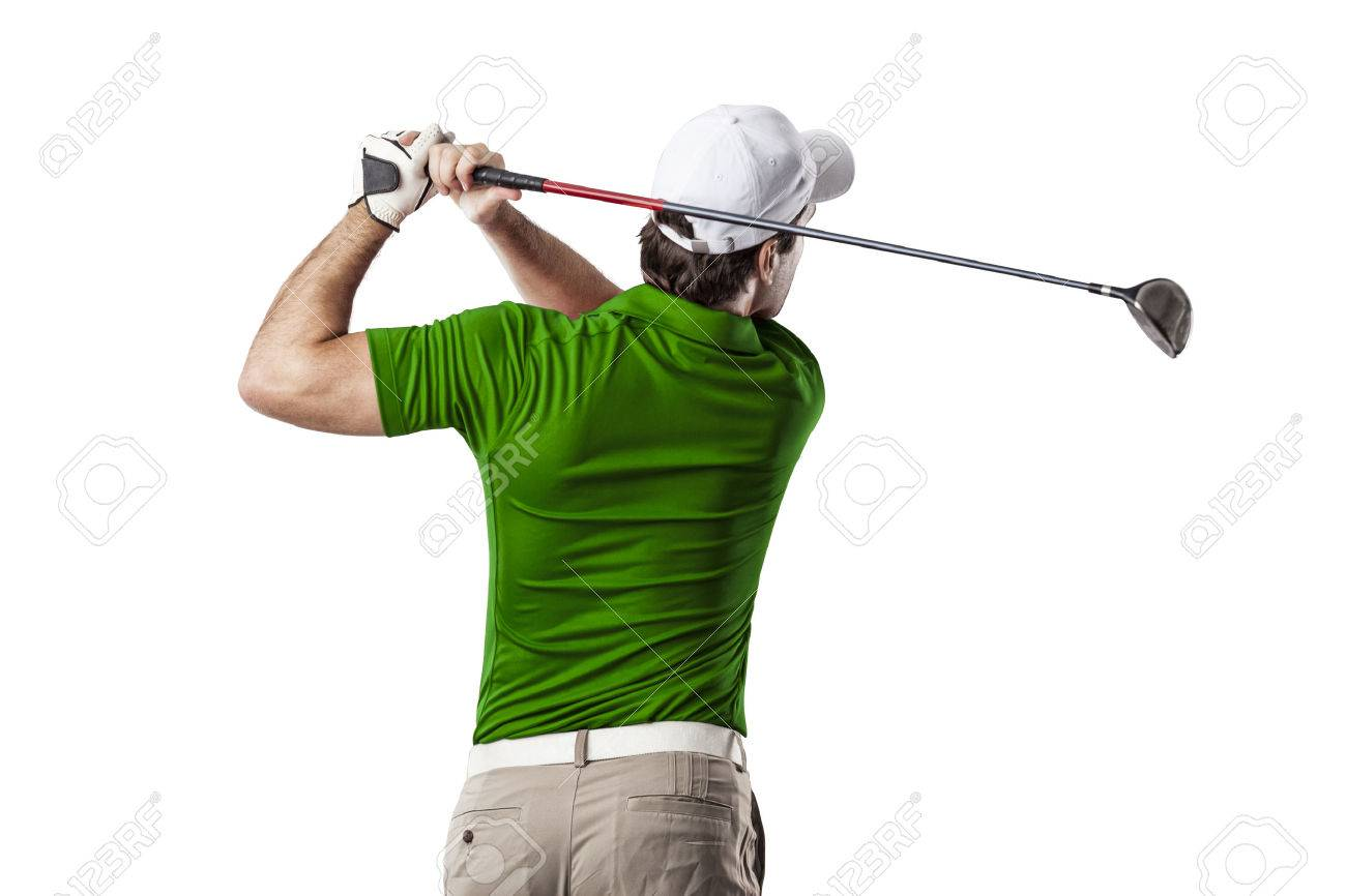 Golf Player in a green shirt taking a swing, on a white Background. - 53263369