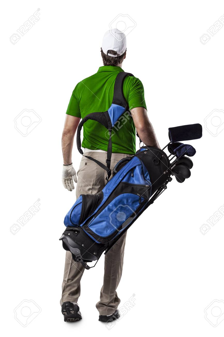 Golf Player in a green shirt walking with a bag of golf clubs on his back, on a white Background. - 53266049