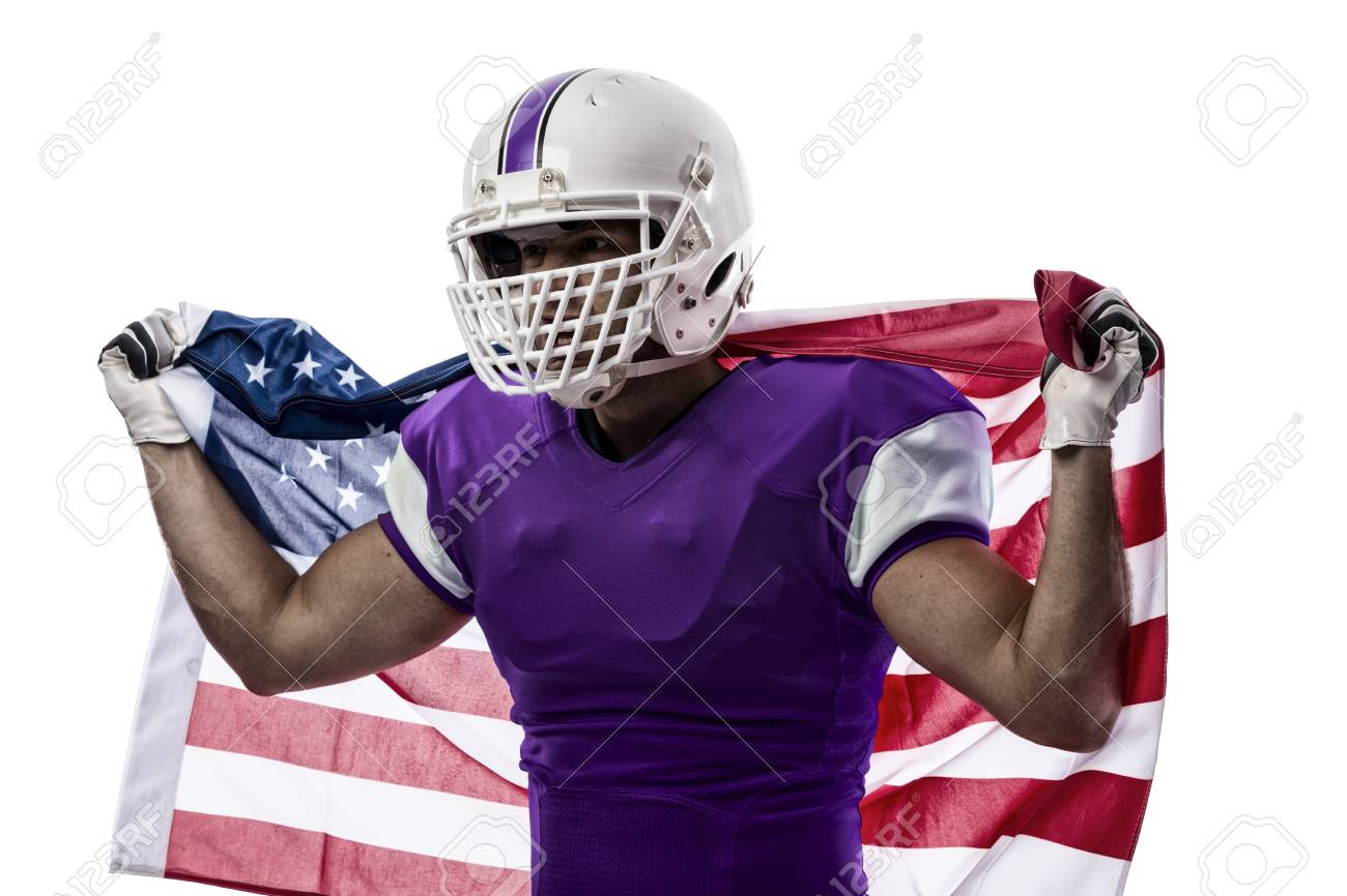 600df89435a Football Player With A Purple Uniform And A American Flag