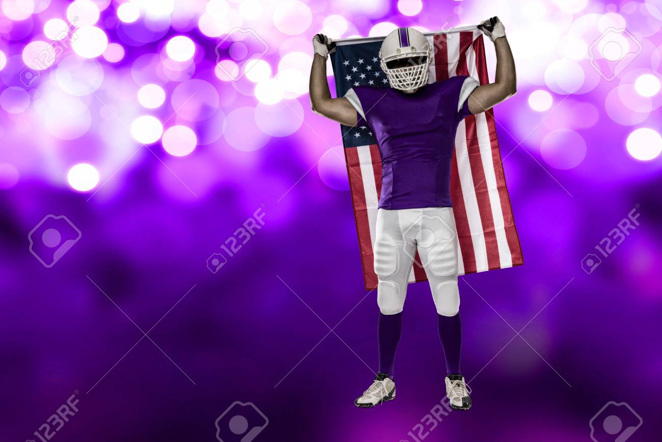 Football Player With A Purple Uniform And American Flag On Lights Background