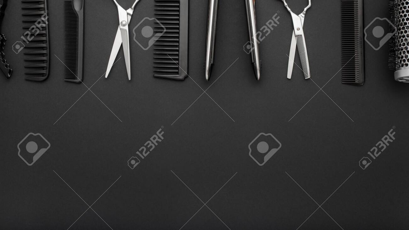 Flat Lay Composition With Hairdresser Tools Scissors Combs Stock Photo Picture And Royalty Free Image Image 134711948