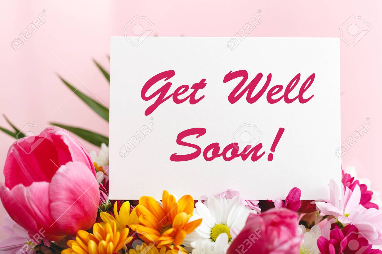 Get Well Soon Card In Flower Bouquet On Pink Background Stock Stock Photo Picture And Royalty Free Image Image 143683786