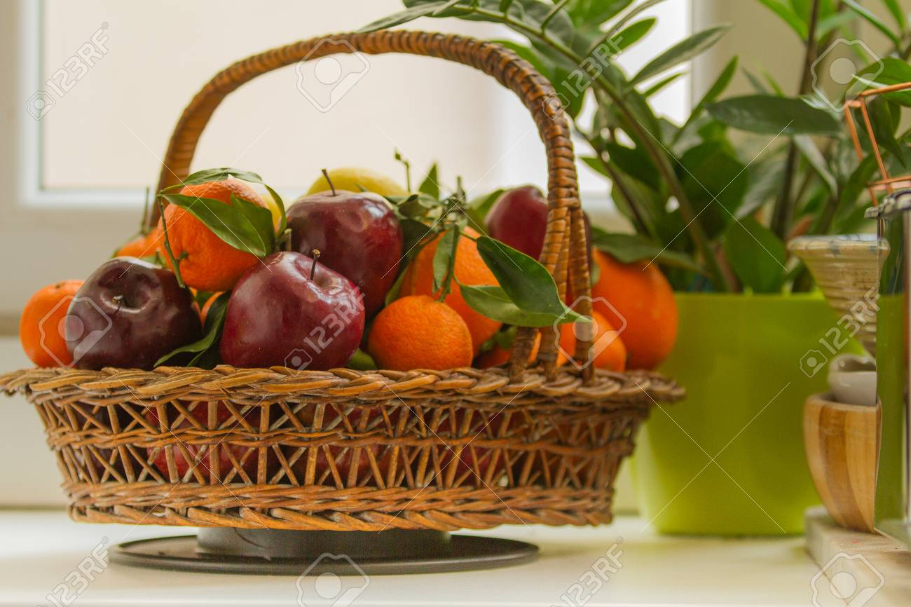 Fresh fruit basket in an italian kitchen
