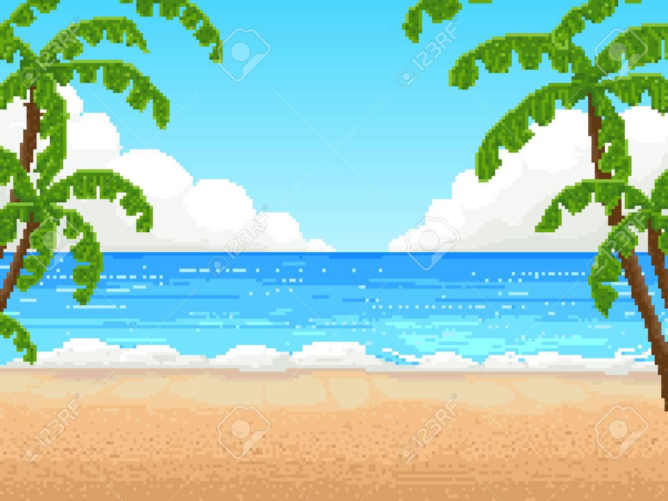 Retro pixel 8 bit background. beach, palm - 110251369