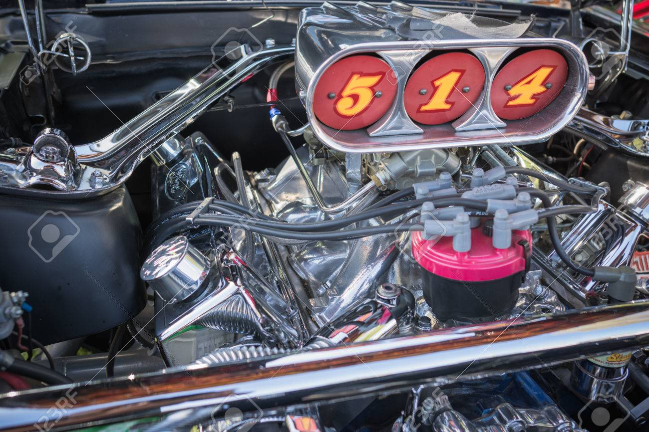 Pomona Usa March 12 2016 Customized Muscle Car Engine Displayed